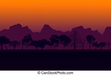African Sunset Vector - Colorful African Nature Sunset with...