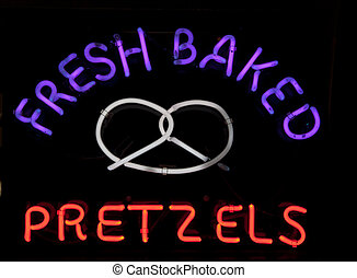 fresco, cocido al horno, pretzels, neón, señal