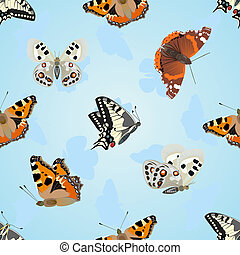 Butterflies - Seamless background of flying moths. The...