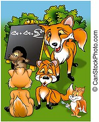 Foxes in School - Cartoon Illustration, Bitmap