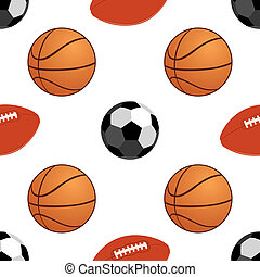 Sports balls - Seamless background with the image of sports...