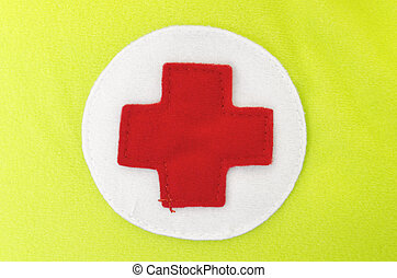 Red Cross - Red cross on white and apple-green flannel
