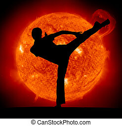 Martial art Karate man and Sun planet