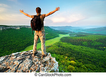 Man on top of mountain Conceptual scene