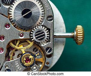 viejo, reloj, mecanismo