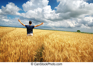Man in yellow meadow - Man in yellow wheat meadow Conceptual...