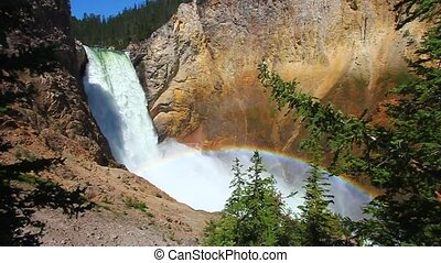 Rainbow at Yellowstone Lower Falls - Sunlight creates a...