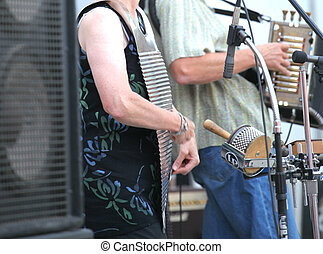 Cajun music festival. - Musicians playing cajun music on...