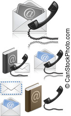 """Contact Us"" Vector Icon Set. Vector Illustration"