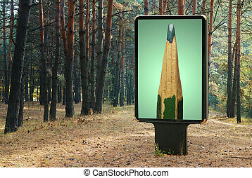 Billboard with pencil at forest Conceptual image
