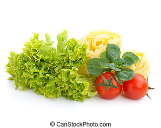 fresh salad, lettuce leaves, macaroni and tomato