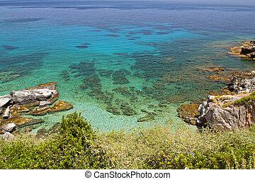 rocoso, playa, formación, Kefalonia
