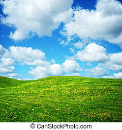 green summer meadow and cloudy blue sky - green summer...