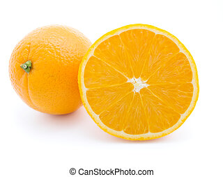 Ripe orange fruits isolated on white background