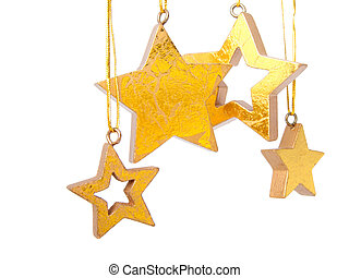 Golden Christmas stars, isolated on white background
