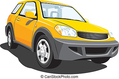 Yellow suv - Vector isolated modern sports utility vehicle...