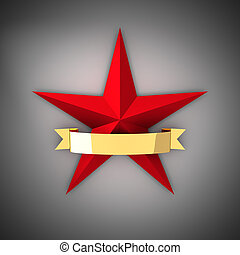 Red star and gold ribbon - The big red star and gold ribbon