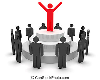 Leadership - Leader speaking to crowd 3d objects isolated on...
