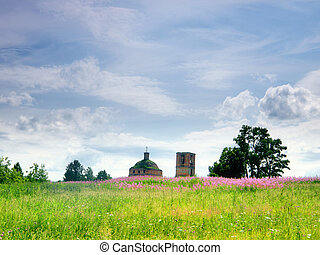 Abandoned church in field