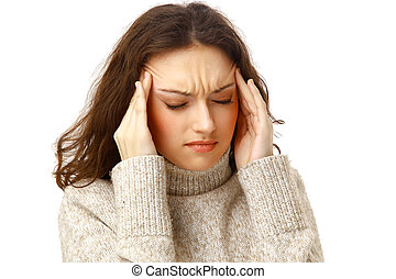 young woman holding head in pain over white background