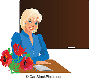 Pretty teacher smiling with flowers against blackboard