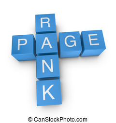 Page rank 3D crossword on white background - Page rank...