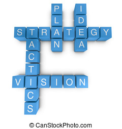 Strategic vision 3D crossword on white background -...