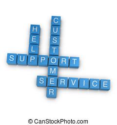 Customer support 3D crossword on white background - Customer...