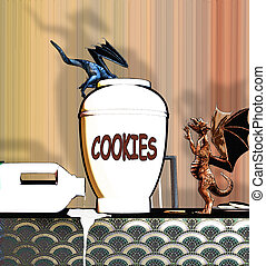 Dragons Getting Into Cookie Jar - Little dragons climbing...