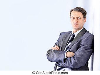 portrait, beau, jeune, homme, Business, complet
