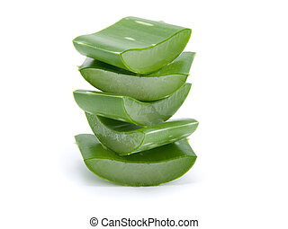 Sliced aloe leaves isolated on white background