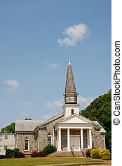 Old Stone Church on Hill with Wood Shingle Steeple