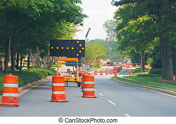 Road Construction with Lane Closed - A road construction...