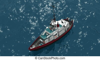Fishing schooner - Top view of a fishing schooner, which...
