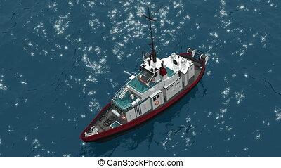 Fishing schooner - Top view of a fishing schooner, which...