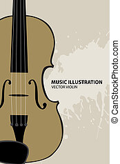 Music illustration - Vector illustration of violin on light...