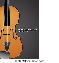 Music illustration - Vector illustration of violin on black...