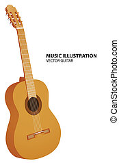 Vector guitar - Vector illustration of guitar on white...
