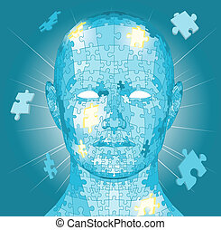 Jigsaw puzzle pieces head - Jigsaw puzzle pieces forming a...