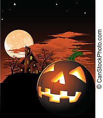 Halloween pumpkin background - A haunted house and pumpkin...