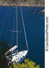 Sailboat anchored at Kefalonia island in Greece