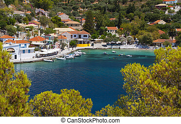 Traditional fishing village at Kefalonia island -...