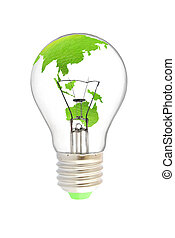 Tungsten light bulb with green earth map