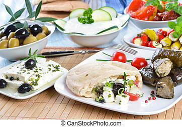 Greek appetizers - Cold Greek appetizers: stuffed flat...