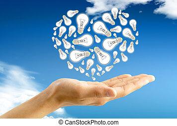 Ecological energy. Hand holds a light bulb against blue sky