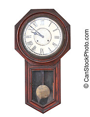 old clock isolated on the white