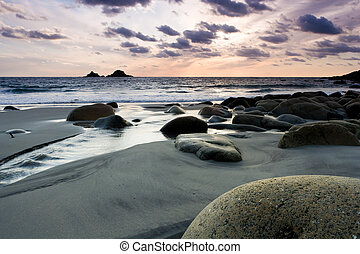 Vibrant beach sunset - Sunset on a tranquil beach with...