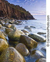 Boulder Beach - Remote boulder beach at Porth Loe Cornwall...