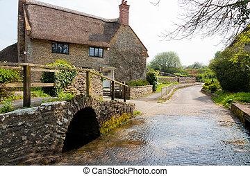 Dorset village - Bridge and river ford in the Dorset village...