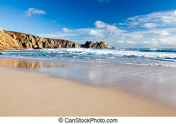 Porthcurno Beach - Beach at Porthcurno Cornwall England UK...